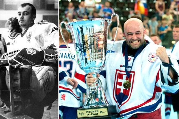 Stanislav Petrík - vľavo ako hokejový brankár Nitry v roku 1996, vpravo pri zisku titulu majstra sveta v roku 2015.