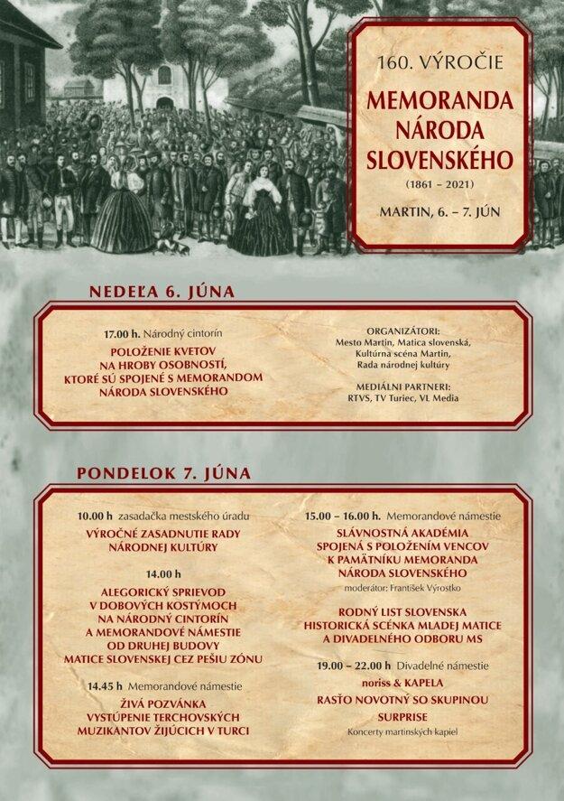 Program osláv 160. výročia prijatia Memoranda národa slovenského.