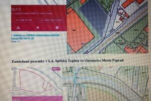 Ukážka časti zamieňaných pozemkov v katastri Spišskej Teplice vo vlastníctve mesta Poprad.