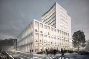 Vizualizácia projektu administratívnej budovy Interpolis Office Center v centrálnej mestskej zóne Banskej Bystrice na Partizánskej ceste 3.