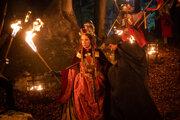 Z nakrúcania rozprávky Zakliata jaskyňa. Táňa Pauhofová ako zlá kráľovná.