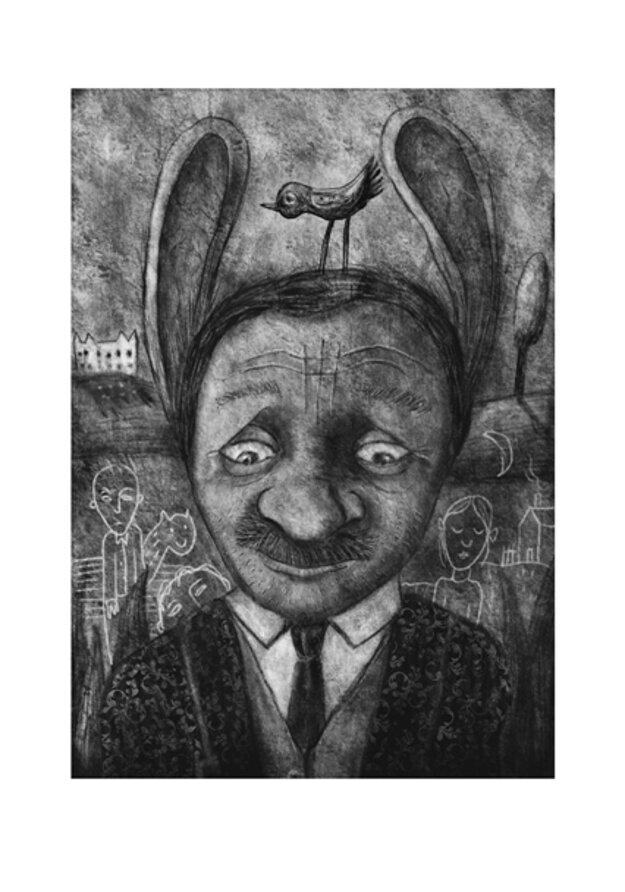 Grafika Muž so zajačími ušami
