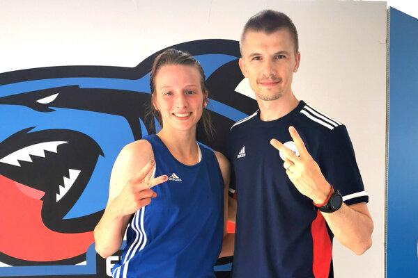 Mirka Jedináková a tréner Pavol Hlavačka.