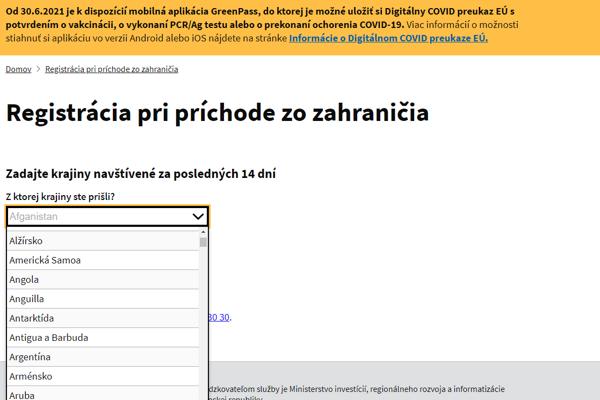 Úvodná stránka formuláru ehranica.