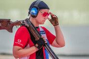 Zuzana Rehák-Štefečeková počas súťaže trapu na OH v Tokiu.