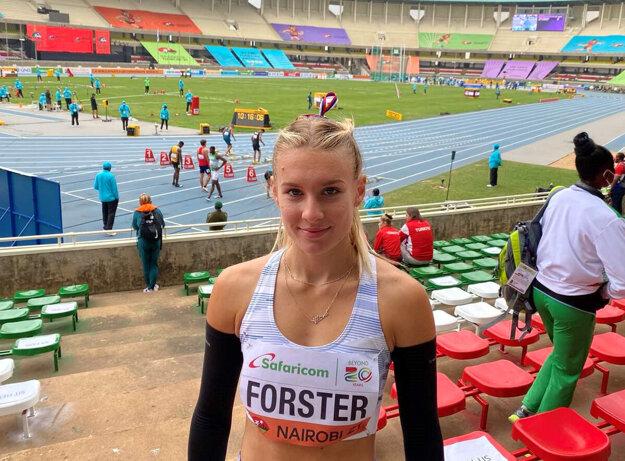 Viktória Forster na MS juniorov v atletike 2021.