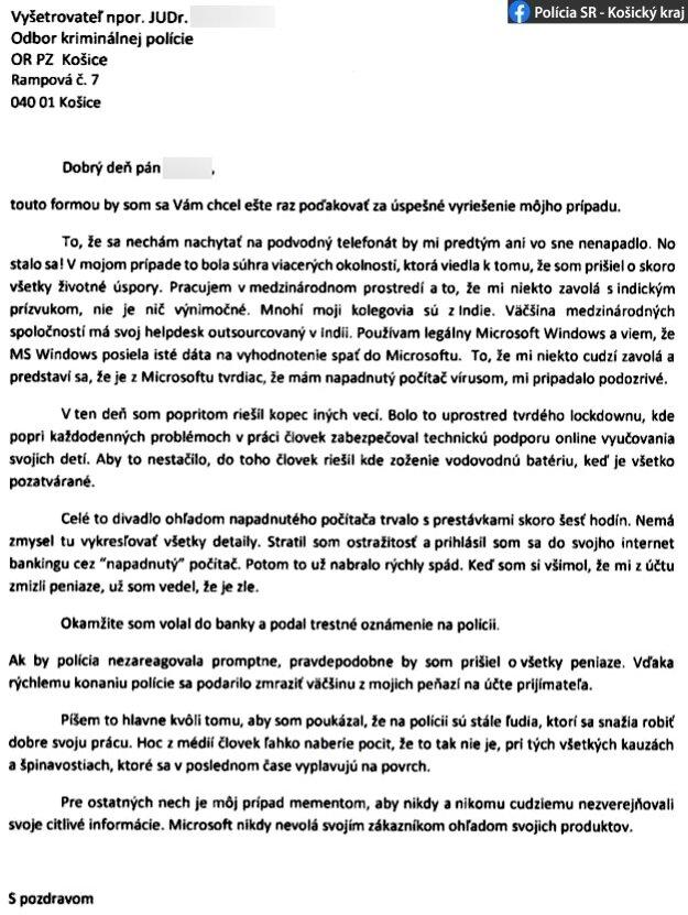 Ďakovný list obete podvodu polícii.