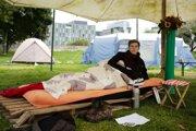 Klimatický aktivista Henning Jeschke počas protestnej hladovky.