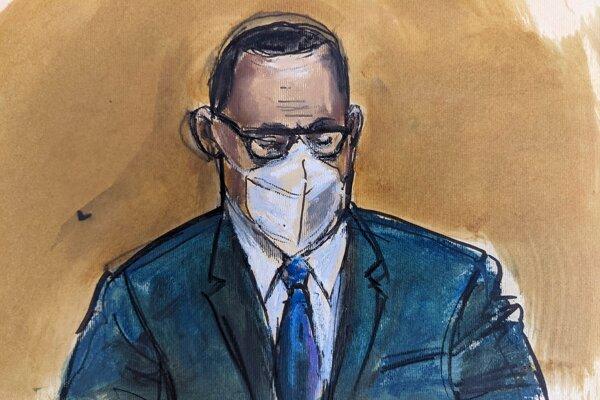 Na kresbe zo súdnej siene R. Kelly počúva verdikt poroty na súde.