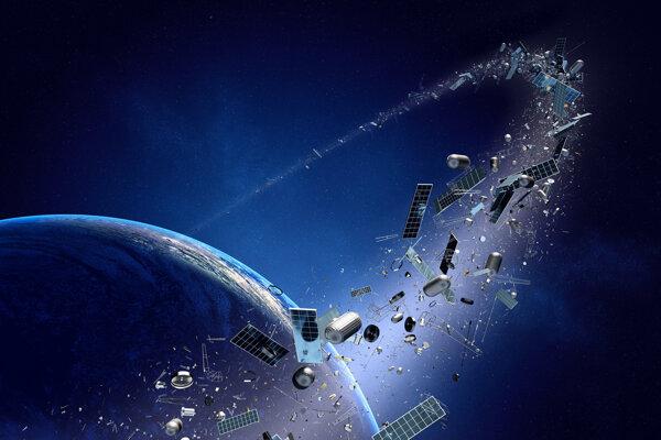 Ilustrácia vesmírneho odpadu, ktorý obieha planétu Zem.