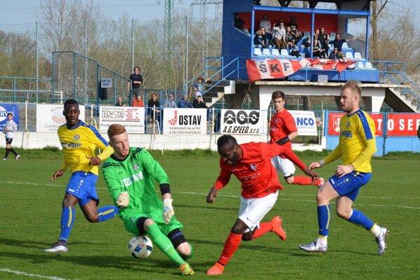 Veľkú šancu na gól do košickej siete mal Seredčan Pellet.
