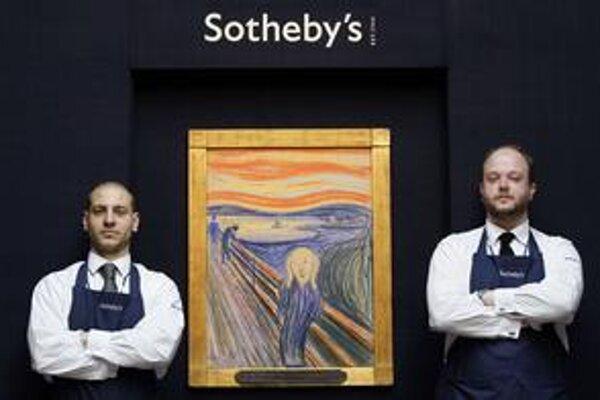 Pracovníci Sotheby's s obrazom, ktorého dražba bude 2. mája v New Yorku.