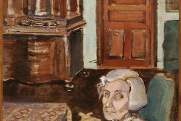 Portrét barónky v Strážkach okolo roku 1950.