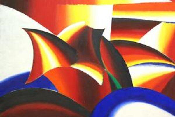 Milan Laluha: Kompozícia, 1960, olej; plátno, 95,5x120,5 cm.