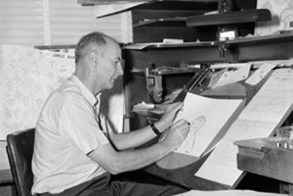 Ollie Johnston animuje postavičku medveďa Baloo pre klasickú rozprávku Kniha džunglí  (1967)  v auguste 1965.