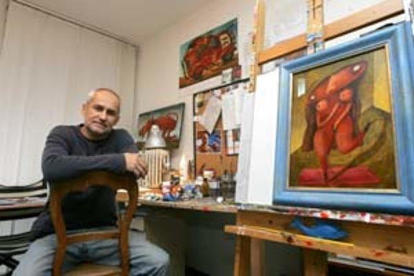 Fero Lipták vo svojom ateliéri, jednom z jeho obľúbených miest.