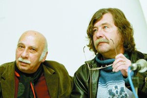 Gija Kančeli (vľavo) si prišiel vypočuť svoje skladby osobne. S Vladimírom Godárom sú kolegovia aj priatelia.