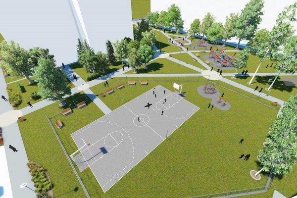 Vizualizácia nového oddychového priestoru, ktorý ohraničujú ulice Košická, Pribinova, Sokolská a Tajovského.