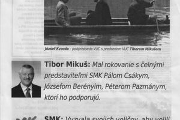 Autor letákov, ktoré využívajú maďarskú kartu a sú namierené proti Tiborovi Mikušovi, je neznámy. Podporuje ho SNS a ticho aj SMK.