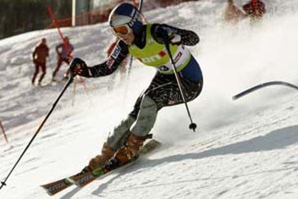 Lindsey Vonnová na trati slalomu v St. Antone.