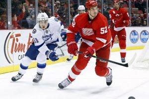 V červenom drese Detroitu Jonathan Ericsson.