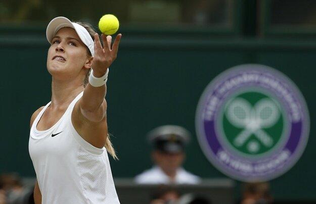 Eugenie Bouchardová počas finále Wimbledonu proti Petre Kvitovej.