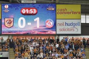 Na snímke ukazovateľ na štadióne so stavom zápasu po úvodnom góle útočníka Trenčína Tomáša Maleca.