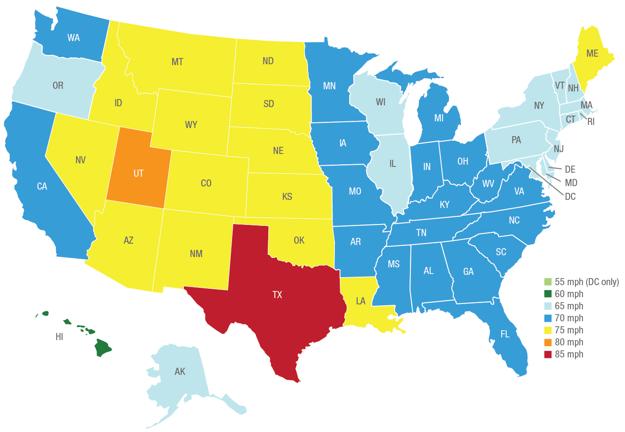 Maximálna povolená rýchlosť v jednotlivých štátoch USA k 1. januáru 2013.