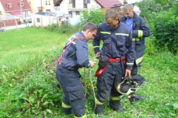 Hasiči prišli pomôcť zvieraťu, ktoré spadlo do 5-metrovej jamy.