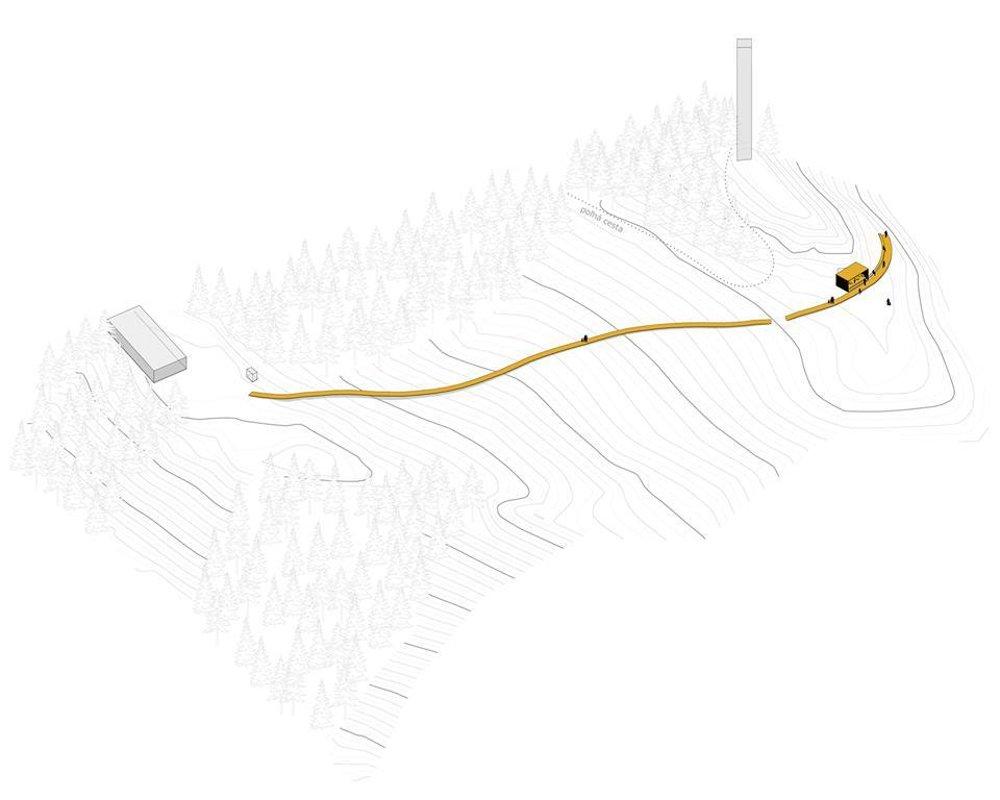 Nakres projektu lávky a vyhliadkového prístrešku.