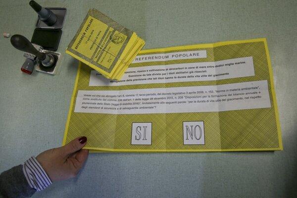 Hlasovací lístok talianskeho referenda.