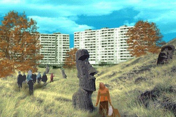 Na sochách z Veľkonočných ostrov medzi panelákmi združenie netrvá.