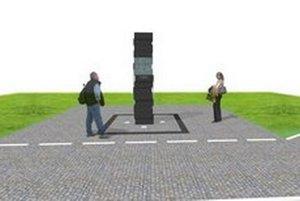Pomník má tvoriť vysoký žulový pilier.