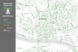 Zelenou farbou sú na mapke znázornené otvorené wifi, teda také, na ktoré netreba poznať heslo.