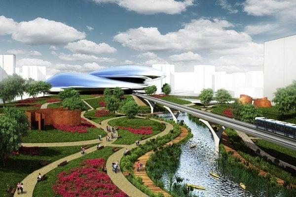 Vizualizácia kultúrno-spoločnského centra Petržalky jedného z neúspešných návrhov. Vlak by viedli ponad terén, aby nezasiahli do zelene či Chorvátskeho ramena. Autorom je štúdio Jančina, ktoré stojí aj za projektmi Auparku či Apollo Bussiness cent