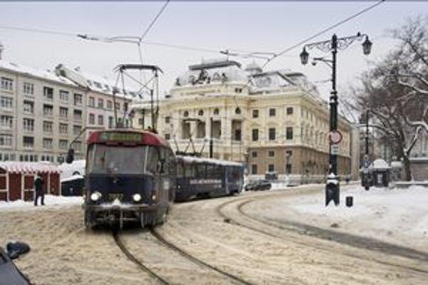 Ulice sú plné snehu.