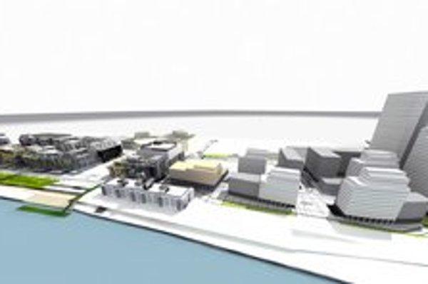 Eurovea II. Plánované pokračovanie multifunkčného projektu. Dominovať mu majú dve výškové budovy.