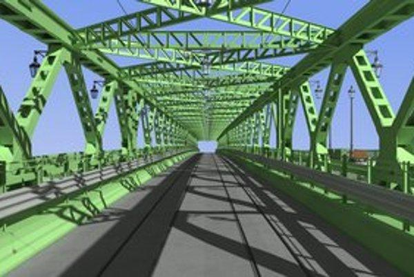 Vizualizácia základnej konštrukcie nového Starého mosta. Hlavná architektka Ingrid Konrad hovorí, že s ňou nesúhlasí a nie je ešte finálna.