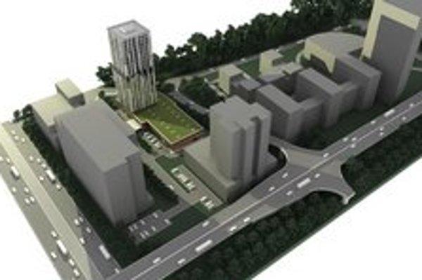 Takto má vyzerať budova pri Sada Janka Kráľa. Vo vizualizácii sú použité zámery investorov v okolí z roku 2009.