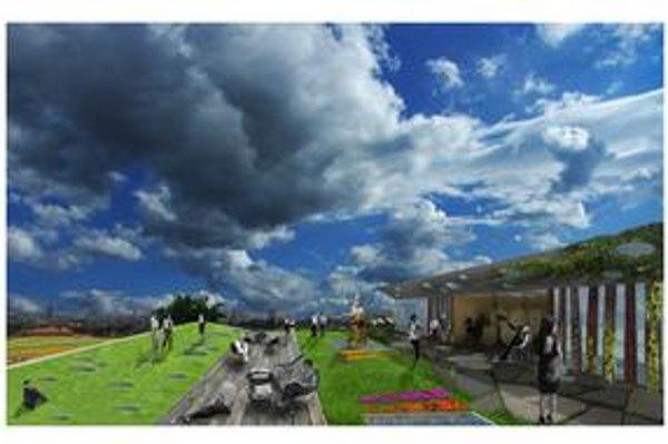 Jedna z vizualizácií visutých záhrad.