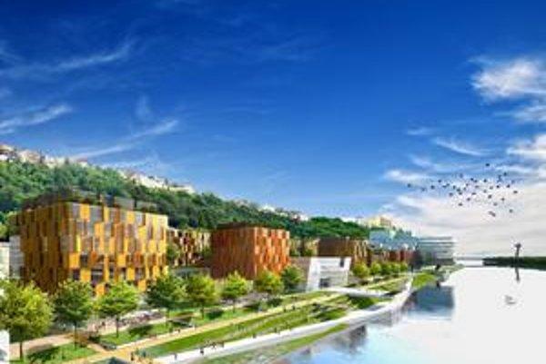 Lokalita River Park 2. Vyrastú tu kancelárie, bytové a obchodné priestory. Nová kultúrno spoločenská sála (na vizualizácii biela budova) má mať kapacitu okolo 900 ľudí. Mesto už uzavrelo zmluvu o jej dlhodobom prenájme.