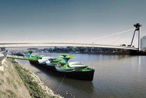 Hrdzavé člny na Dunaji sa môžu premeniť napríklad na rozkvitnuté lotosy s pódiom a  príjemným posedením.