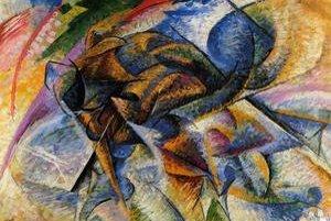 Umberto Boccioni patrí medzi najvýznamnejších predstaviteľov futurizmu. Na snímke je jedna z verzií jeho štúdie pohybu prostredníctvom zobrazenia bicyklistu.