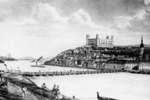 Detail litografie hradu a podhradia podľa fotografie E. Kozicsa asi z roku 1870.