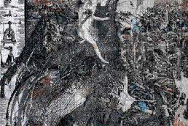 Dušan Kállay: Raj divokých vtákov, 1981 (farebný lept, akvatinta, suchá ihla, papier, 60 x 50 cm). Zo zbierok GMB.