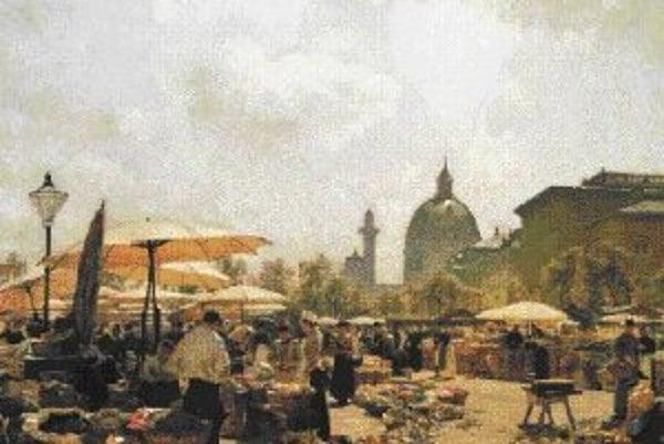 Carl Moll: Viedenský Naschmarkt, 1894.