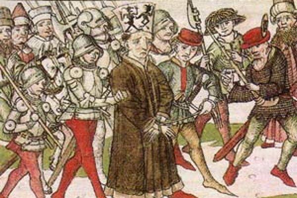 Jána Husa vedú na smrť (dobová rytina).