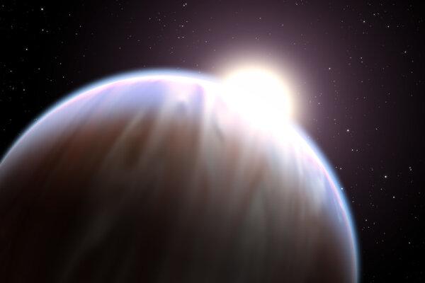 Ilustračné foto. Umelecká predstava planéty typu horúci Jupiter. Podobnú planétu môžu pomenovať Slováci.
