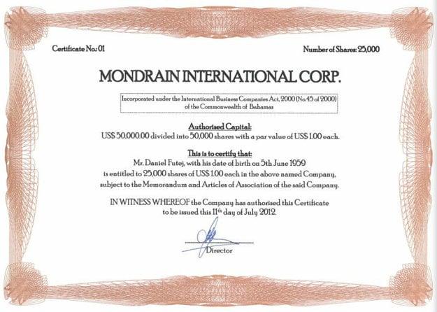 Akciový certifikát bahamskej spoločnosti Mondrain International vystavený na meno bratislavského advokáta Daniela Futeja, cez Mondrain chcel Futej financovať výstavbu nehnuteľnosti na Bahamách.