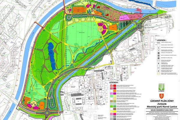 Mapa budúceho parku.